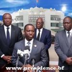 La délégation ivoirienne est venue au nom du Président Alassane OUATTARA, renouveler son fort soutien au Président du Faso, a laissé entendre le Président de l'Assemblée nationale ivoirienne,Guillaume Soro au premier plan sur la photo.
