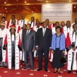 Photo de famille de la rentrée judiciaire 2014/2015 le 1er Octobre 2014 dans la salle des Banquets de Ouaga 2000.