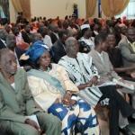 Des représentants de partis politiques  lors d'une rencontre avec le président du Faso.