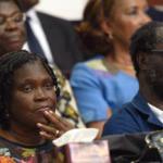 Simone Gbagbo lors de l'audience du 26 décembre 2014 devant le cour d'assisses d'Abidjan, en Côte d'Ivoire.AFP PHOTO / SIA KAMBOU