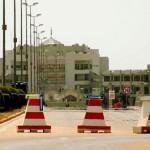 La voie principale sous haute sécurité donnant accès au siège de la Présidence du Faso à Ouagadougou.