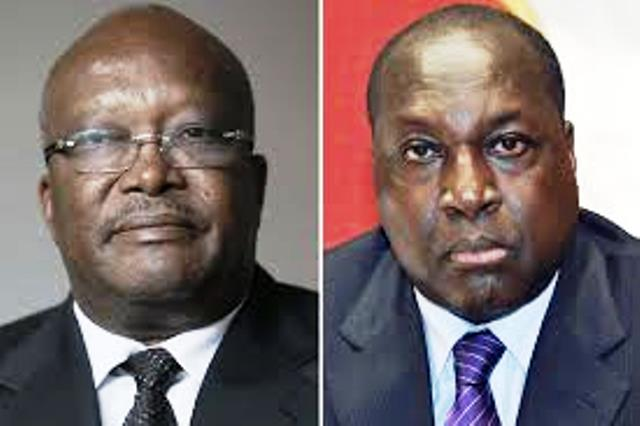 Roch Marc Christian Kaboré(MPP) à gauche et Zéphirin Diabré(UPC),les 2 candidats qui émergent au 1er tour de la présidentielle du 29 novembre 2015 au Burkina Faso pour mettre un terme au régime de la transition post insurrectionnelle.