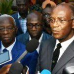 Photo d'illustration. Ici, le président du Lider, Mamadou Koulibaly s'exprime à l'issue d'une rencontre de dirigeants de l'opposition, le 18 mars 2015. © AFP PHOTO/ SIA KAMBOU