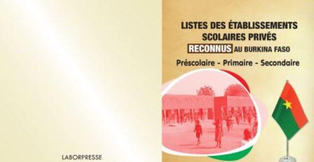 Livret sur les listes d'établissements scolaires(préscolaire,primaire,secondaire) reconnus au Burkina:lieux de vente à Ouagadougou
