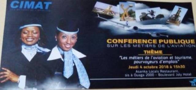 Centre International des Métiers de l'Aviation et du Tourisme(CIMAT) : Conférence publique à Ouagadougou le 4 Octobre 2018